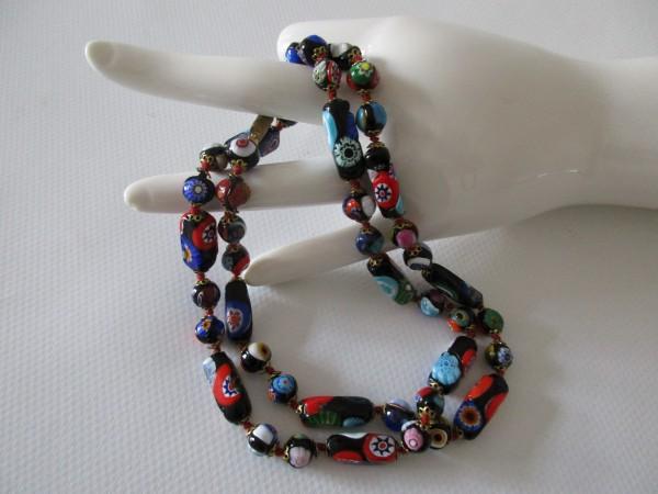 Wunderschöne, sehr lange Muranoglaskette-Millefiori-75 cm