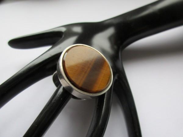 Großer VINTAGE Ring-Tigerauge-Silber