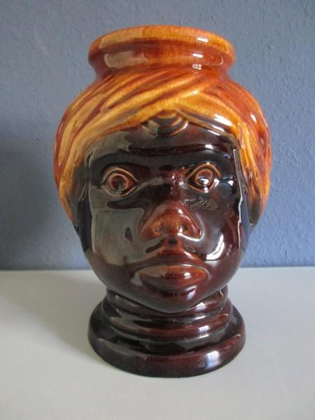 SCHEURICH-große Mohrenkopf Vase-Übertopf-Keramik