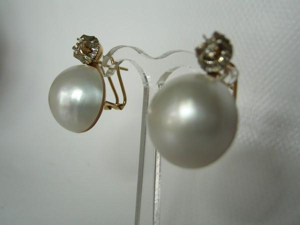 Antike Ohrhänger-Mabeperlen und Diamanten-Handarbeit