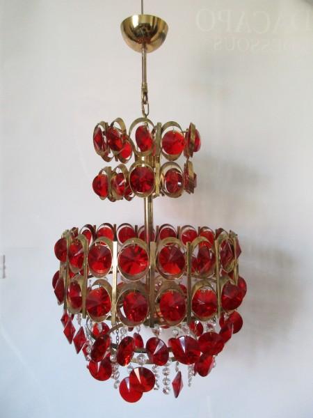 Seltener VINTAGE Kristallleuchter-chandelier-rubinrot