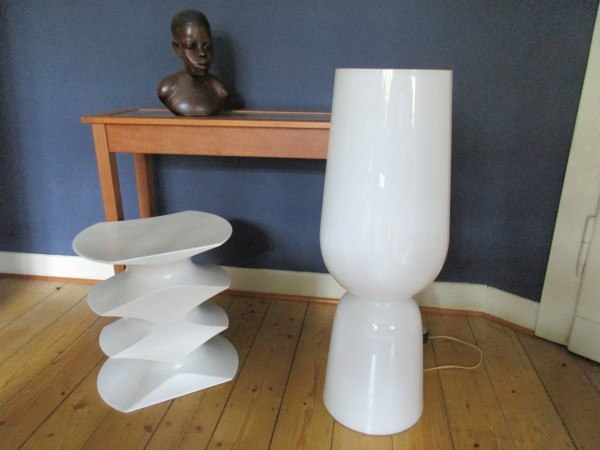 Große MIDCENTURY Bodenlampe-Opalglas
