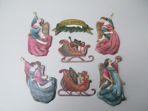 Antike, seltene Christbaumanhänger-Blech-7 Stück