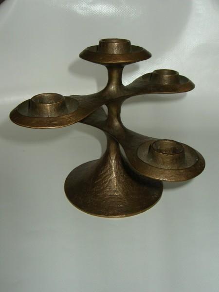 MIDCENTURY Kerzenständer-massiv Bronze-candle holder-signiert